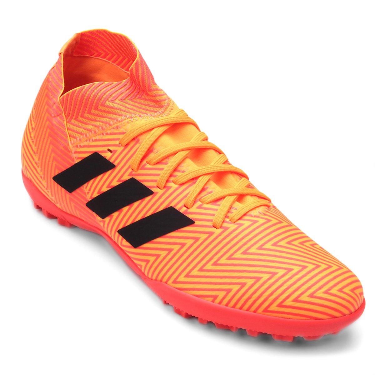 Chuteira Society Adidas Nemeziz Tango 18 3 TF - Laranja e Preto ... bfb6ef7f88af2