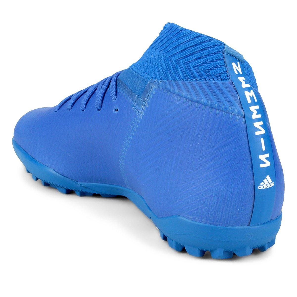 a5af14263b Chuteira Society Adidas Nemeziz Tango 18 3 TF - Azul e Branco ...