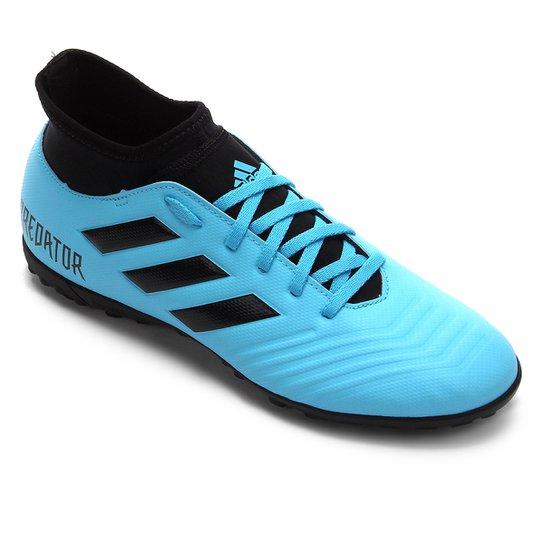 Chuteira Society Adidas Predator 19 4 S TF - Azul+Preto