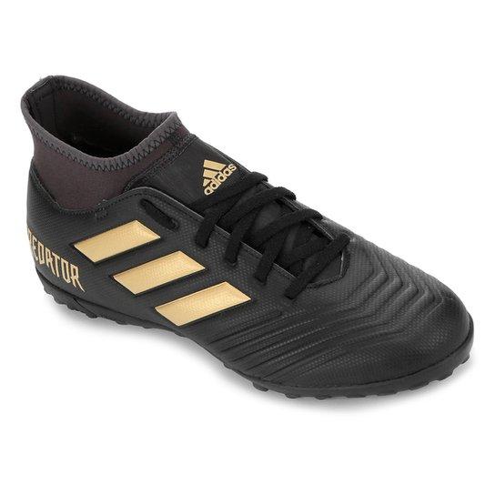 Chuteira Society Adidas Predator 19 4 S TF - Preto+Dourado