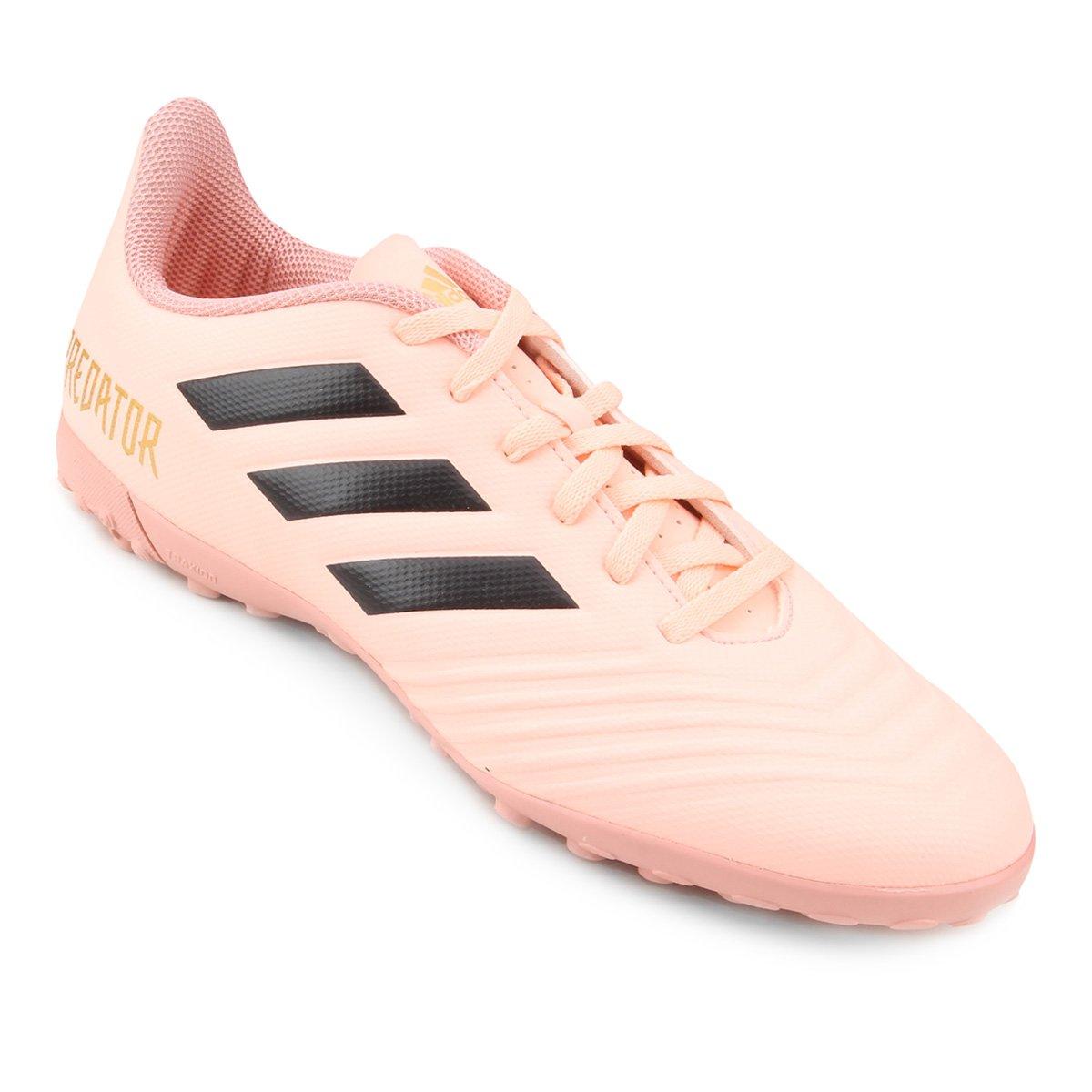 Chuteira Society Adidas Predator Tan 18 4 TF - Rosa e Preto - Compre ... 7b18c8a8737be
