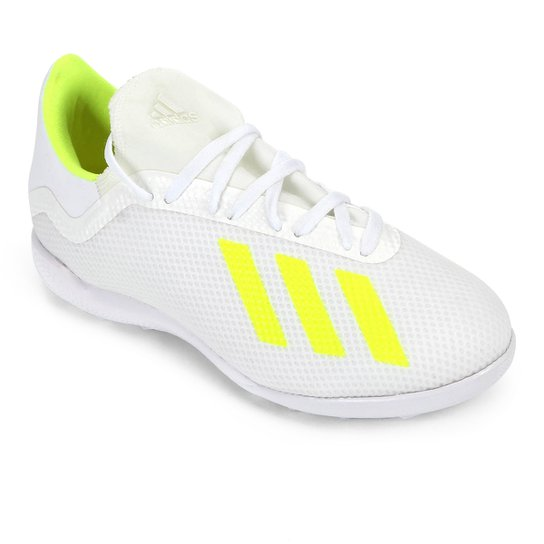 Chuteira Society Adidas X 18 3 TF - Branco+Amarelo
