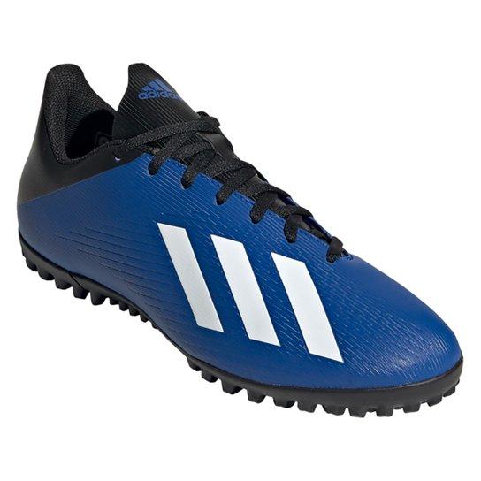 Chuteira Society Adidas X 19 4 TF - Azul+Branco