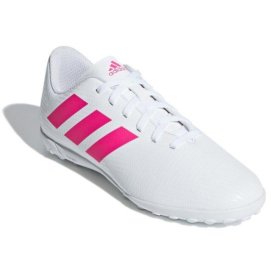 Chuteira Society Infantil Adidas Nemeziz 18 4 TF - Branco+Pink