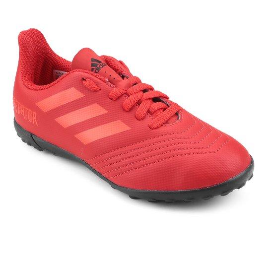 Chuteira Society Infantil Adidas Predator 19 4 TF - Vermelho+Preto