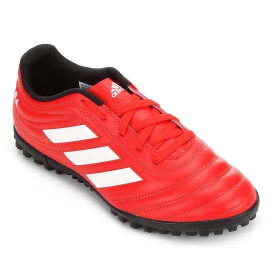 Chuteira Society Juvenil Adidas Copa 20 4 TF - Vermelho+Branco