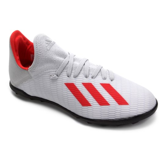 Chuteira Society Juvenil Adidas X 19 3 TF - Prata+Vermelho