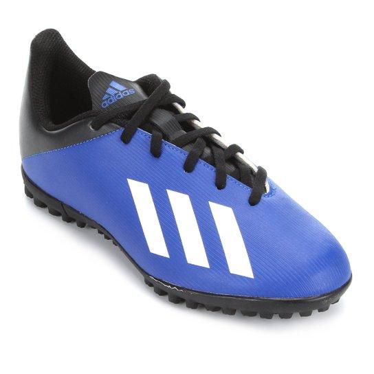 Chuteira Society Juvenil Adidas X 19 4 TF - Azul+Branco