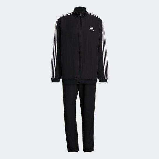 Conjunto Adidas 3 Listras Masculino - Preto+Branco