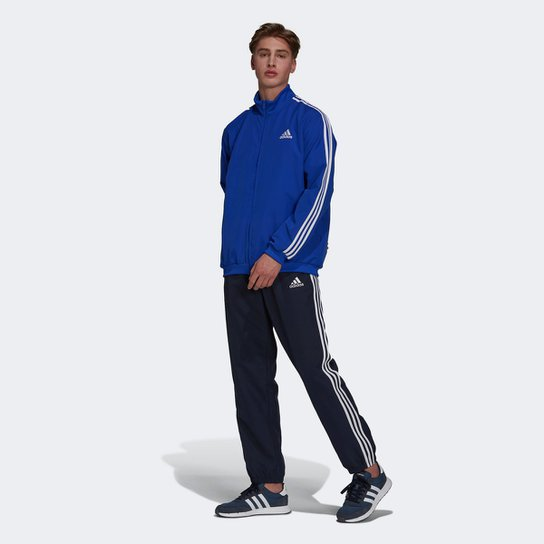 Conjunto Adidas 3 Listras Masculino - Marinho+Branco