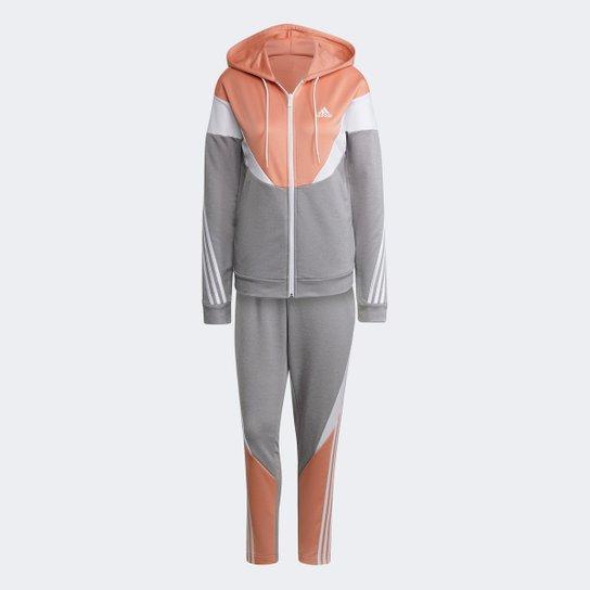 Conjunto Adidas Colorblock Feminino - Rosa+Cinza