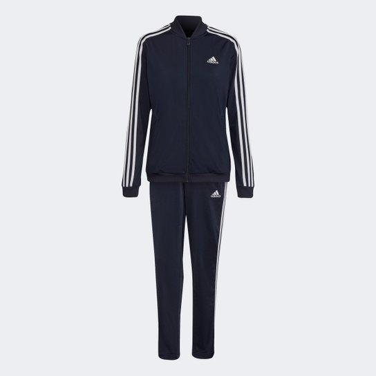 Conjunto Adidas Essentials 3 Listras Feminino - Marinho+Branco