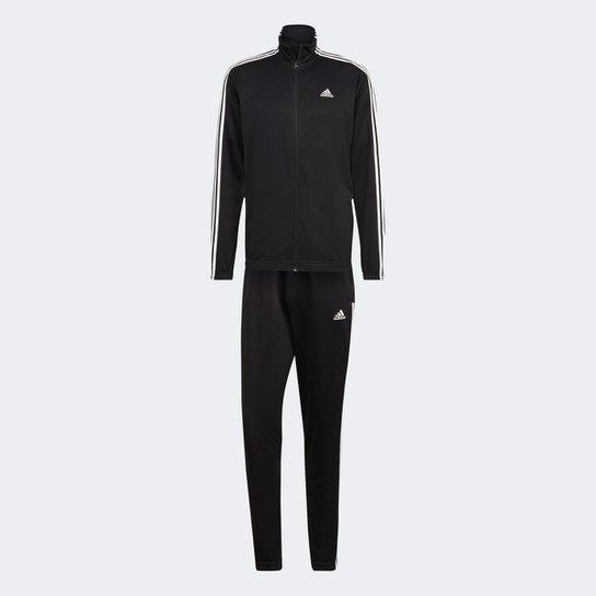 Conjunto Adidas Sportswear Tapered Masculino - Preto+Branco