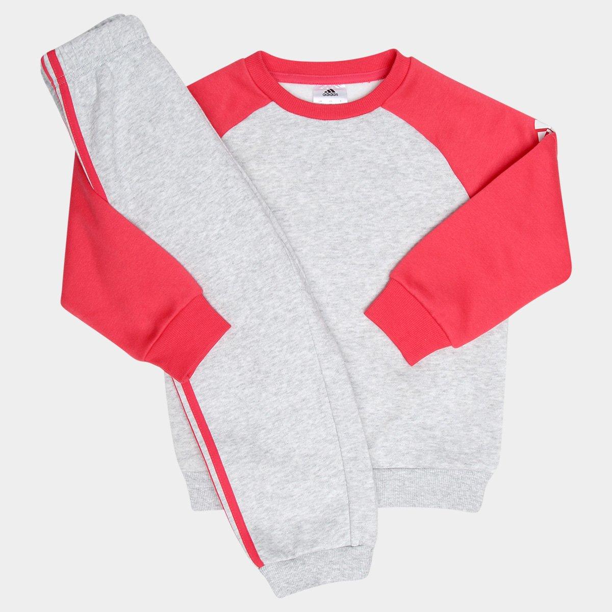 15c0aeca72568 Conjunto de Moletom Infantil Adidas Baby - Cinza e Pink - Compre Agora