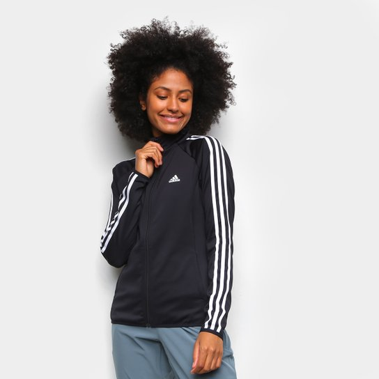 Jaqueta Adidas 3 Listras Feminina - Preto+Branco