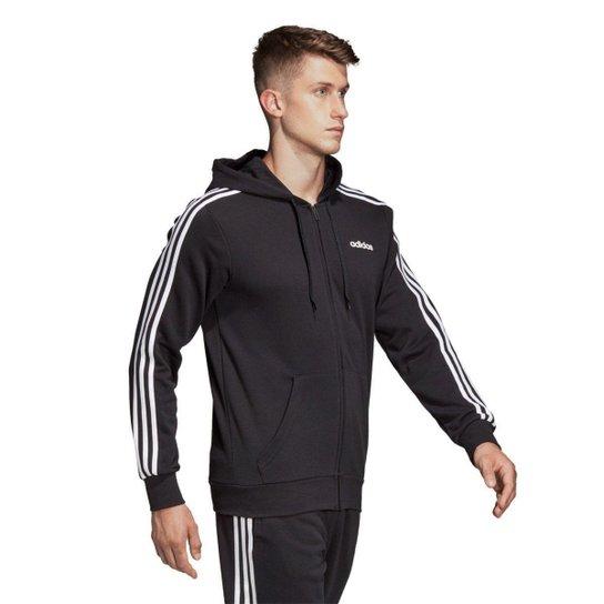 Jaqueta Adidas 3S com Capuz Masculina  - Preto+Branco