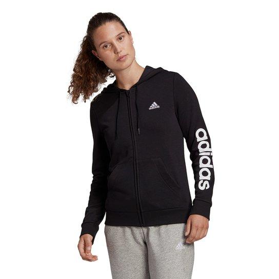 Jaqueta Adidas Linear Feminina - Preto+Branco
