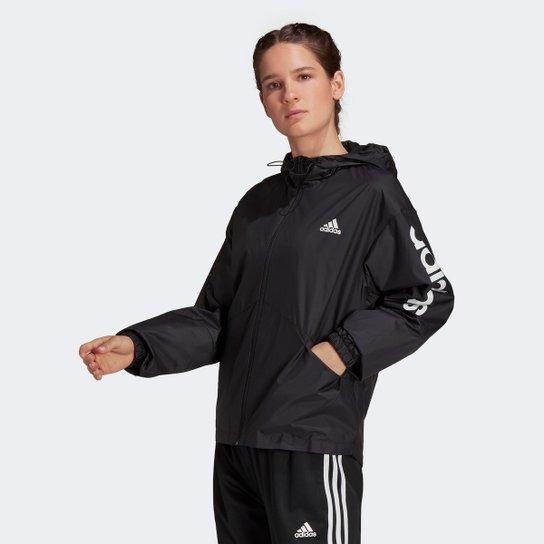 Jaqueta Corta Vento Adidas Linear Colorblock Feminina - Preto+Branco