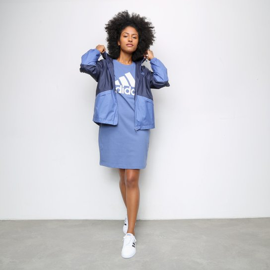 Jaqueta Corta Vento Adidas Linear Colorblock Feminina - Marinho+Branco