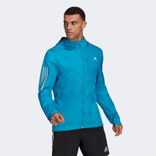 Jaqueta Corta Vento Adidas Own The Run Masculina - Azul Turquesa