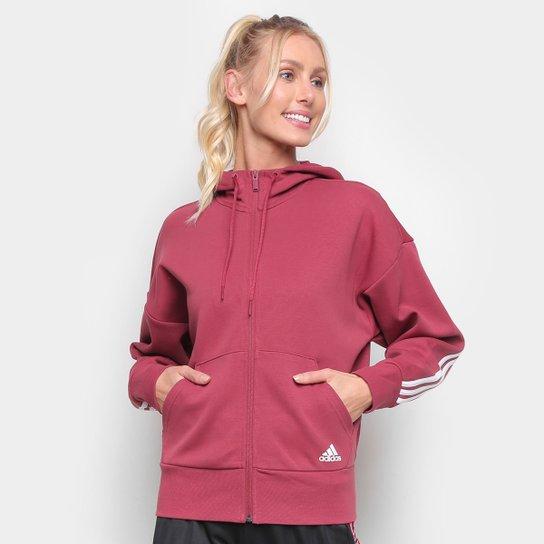 Jaqueta Moletom Adidas 3 Stripes Scuba Feminina - Vermelho