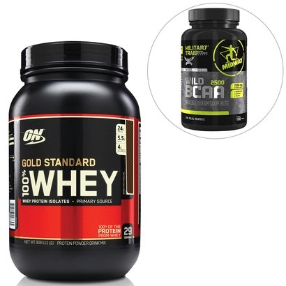 Kit 100% Whey Gold Standard 2 Lbs - Optimum Nutrition + BCAA Wild 100 Tabs Military Trail - Midway