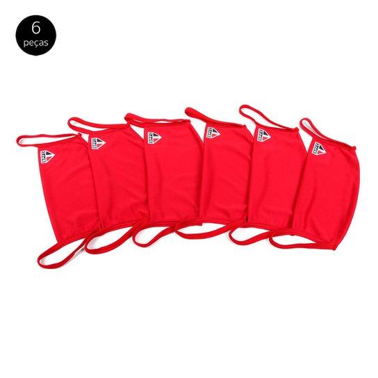 Kit de Máscaras de Proteção São Paulo Modelagem Ampla Laváveis - 6 Unid - Vermelho