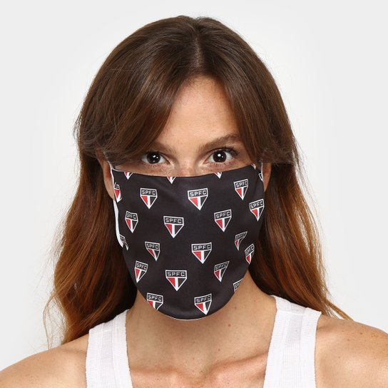 Kit de Máscaras de Proteção São Paulo Pattern Laváveis - 6 Unid - Preto