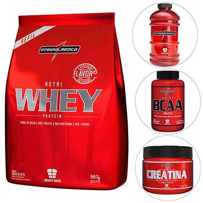 Kit IntergralMédica Nutri Whey Protein 907 g + Creatina + Amino BCAA 150 Tabs + Galão 2.2 Lts
