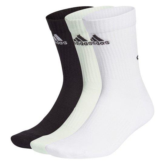 Kit Meia Adidas Cano Alto Bask8ball Logo c/ 3 Pares - Verde+Branco