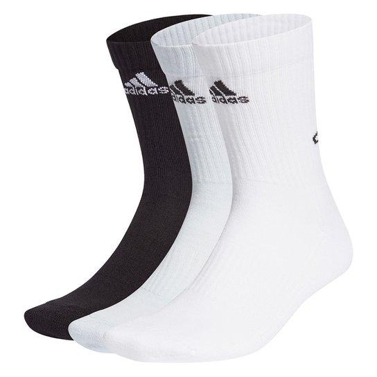 Kit Meia Adidas Cano Alto Bask8ball Logo c/ 3 Pares - Preto+Branco