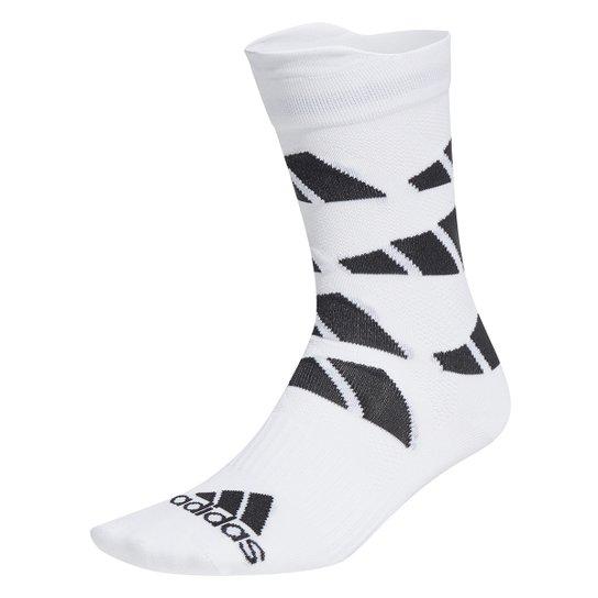 Meia Adidas Cano Alto Allover 3S - Branco+Preto