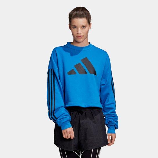 Moletom Adidas Adjust Sweat Feminino - Azul+Preto