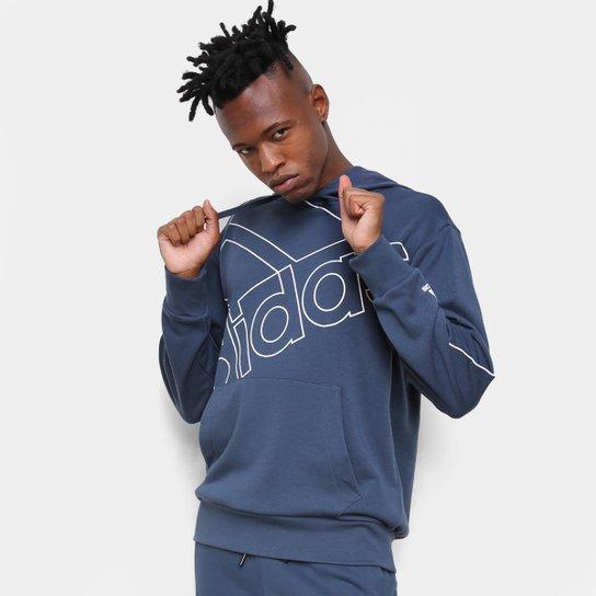 Moletom Adidas Capuz Favourites - Azul+Branco