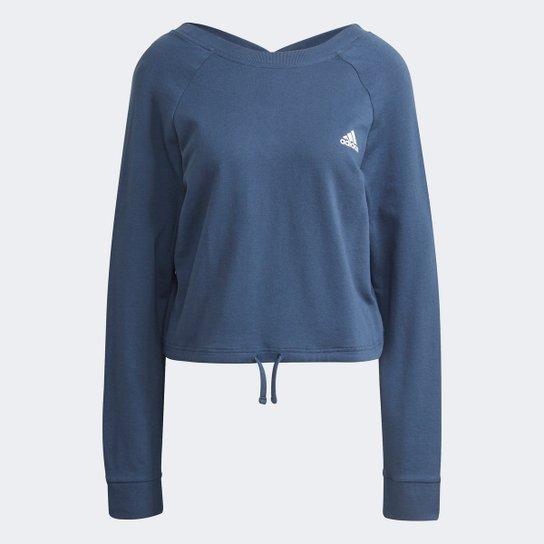 Moletom Adidas Cropped Dance Swetheart Feminino - Azul+Branco