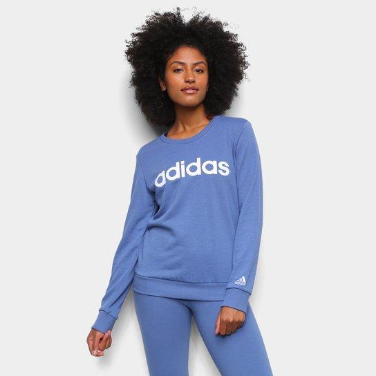 Moletom Adidas Essentials Linear Feminino - Azul+Branco