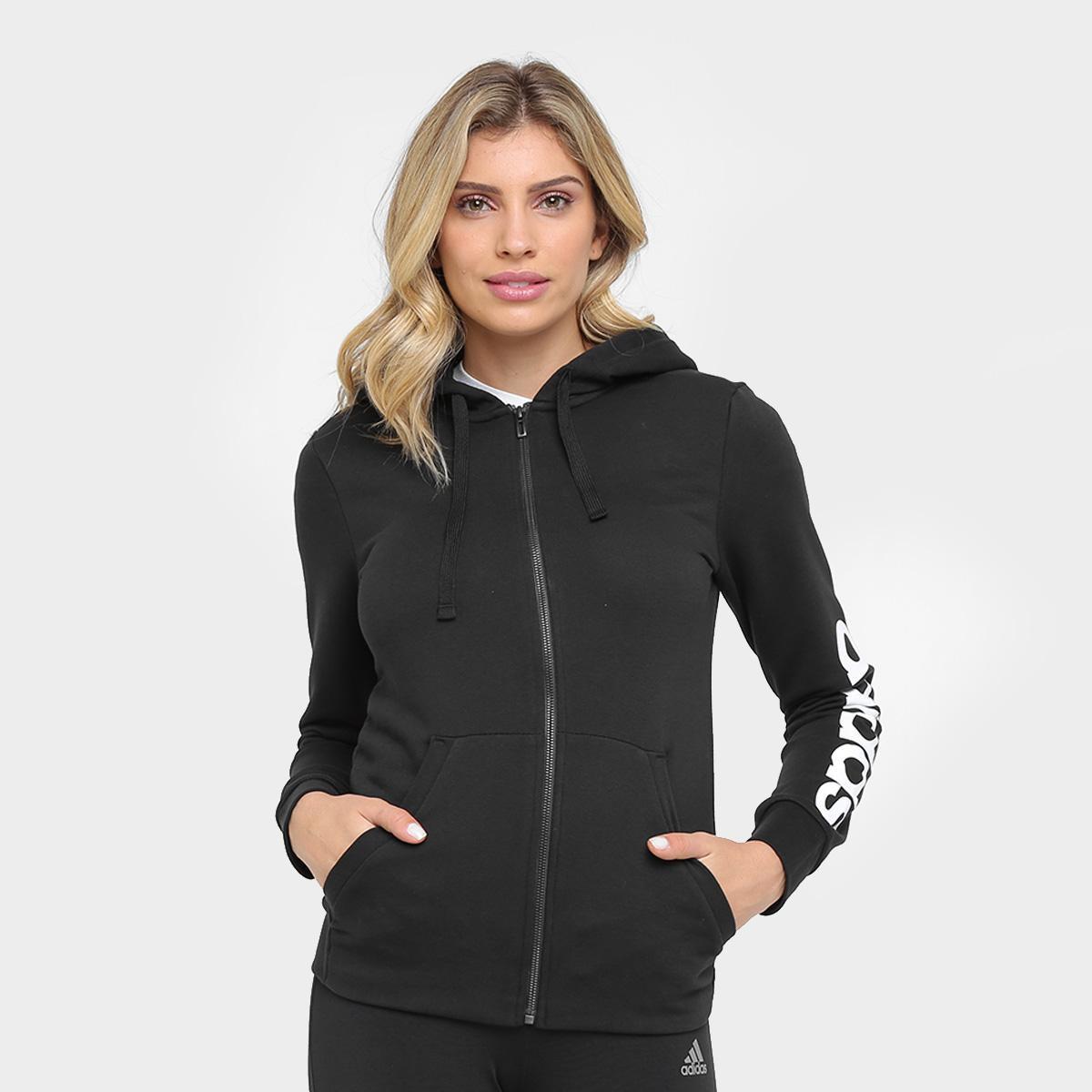 7976fb3a3f1 Moletom Adidas Essentials Linear Fullzip Feminino - Compre Agora ...