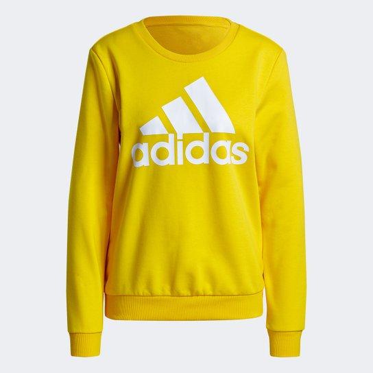 Moletom Adidas Essentials Logo Adidas Feminino - Amarelo+Branco