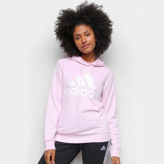 Moletom Adidas Essentials Logo Feminino - Rosa+Branco