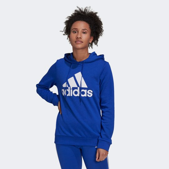 Moletom Adidas Essentials Logo Feminino - Azul+Branco