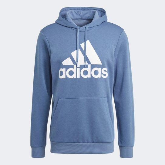 Moletom Adidas Essentials Logo Masculino - Azul+Branco
