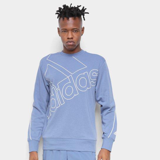 Moletom Adidas Favourites Big Logo - Azul+Branco