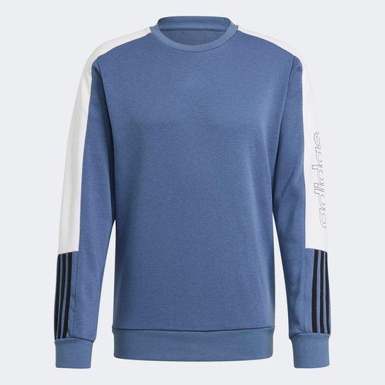 Moletom Adidas Frech Terry Logo Colorblock Masculina - Azul