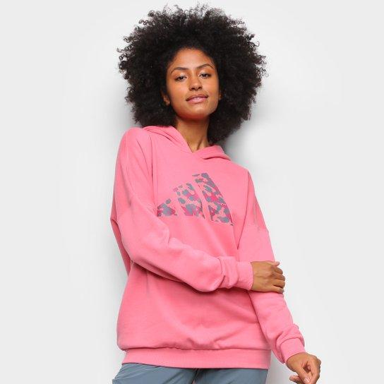 Moletom Adidas Logo Camuflado Feminino - Rosa