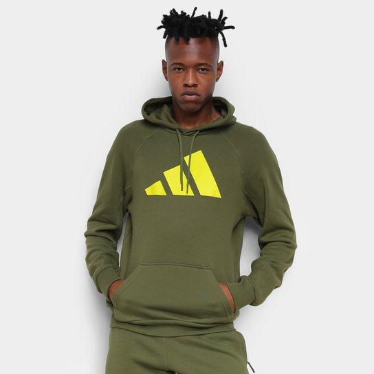 Moletom Adidas Logo Capuz Masculino - Verde escuro
