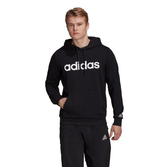Moletom Adidas Logo Linear Com Capuz Masculino - Preto+Branco
