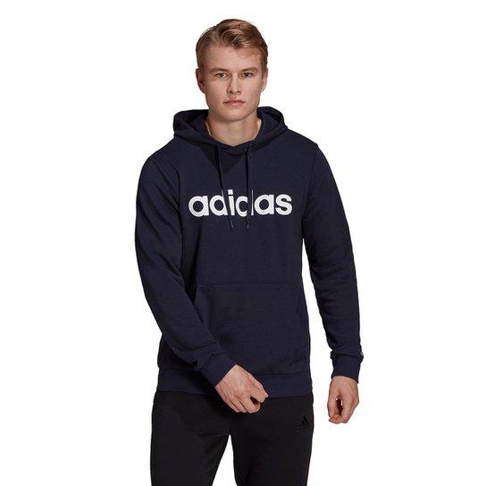 Moletom Adidas Logo Linear Com Capuz Masculino - Marinho+Branco