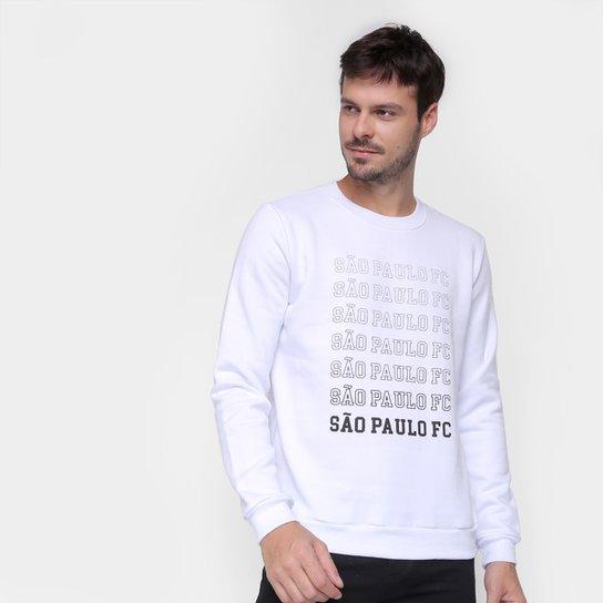 Moletom São Paulo Repeat Retrô Mania Masculino - Branco