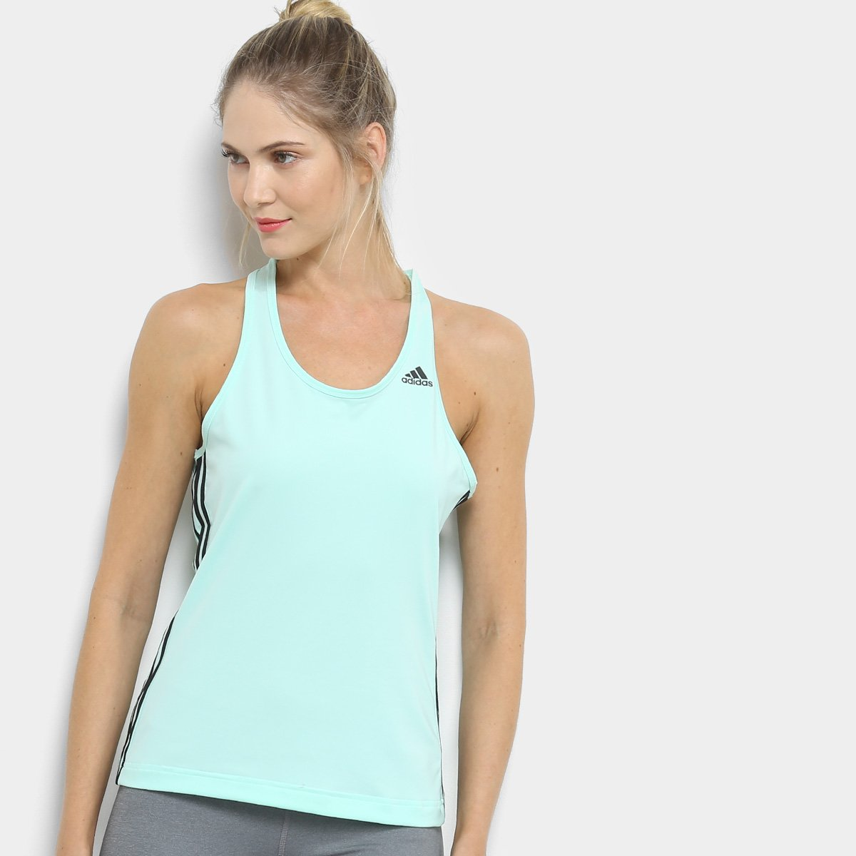 afefba7bd0c Regata Adidas D2M 3Stripes Feminina - Azul Claro - Compre Agora ...