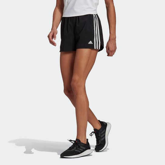 Short Adidas Design To Move 3 Listras Plano Feminino - Preto+Branco
